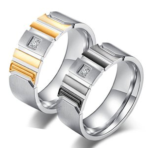 Men's Gold Band Ring Stainless Steel Round 8mm Ring For Men Wedding Rings Jewelry Party Jewelry for Women Men