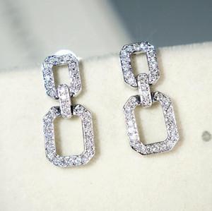 Victoria Super Star Longo Dangle Brinco Jóias de Luxo 925 Sterling Prata Full Paver Full Sapphire Diamond Geometry Mulheres Gota Brinco Presente