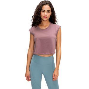 2020 summer new LU-03 solid color small short-sleeved T-shirt женская открытая одежда для пупка повседневная рубашка быстросохнущая дышащая одежда для йоги