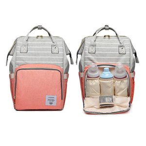 Rayé couche-culotte maman mode sac étanche de grande capacité maternité Nappy soins infirmiers Sac à dos Port bébé Accessoires poussette USB