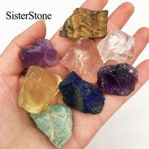 8pcs cristallo di quarzo naturale gemme grezze e minerali curative pietre grezze come regali T200117