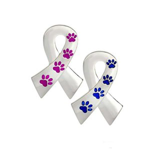 Low Price 2 Color Dog Cat Paw Print Ribbon Pin Brooch Pins For Dog Lover Pet Lovers Animal Jewelry