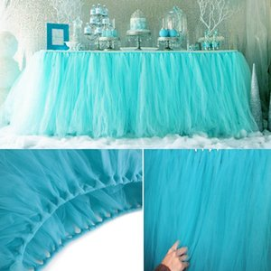 5pcs Lot 100*80cm DIY Tulle Tutu Table Skirt Tulle Baby Shower Birthday Tutu Skirts Wedding Favors Party Decoration Home Textile