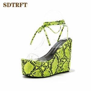 SDTRFT platform Summer 13cm serpentine sandals wedges high heels pumps women's Gladiator Peep toe shoes Female Sandalias Mujer