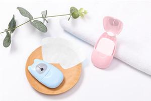 50pcs / box monouso Boxed Paper Soap viaggio portatile della mano di lavaggio Box profumata fetta fogli Mini Sapone carta CCA11962