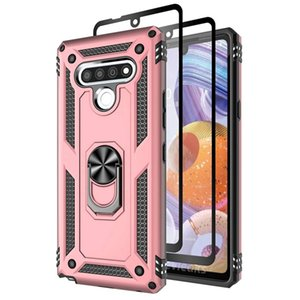 For Samsung M30 A40S M10 M20 Kickstand Shockproof Bracket Phone Case With Magnetic Ring Holder With Full Cover Tempered Glass