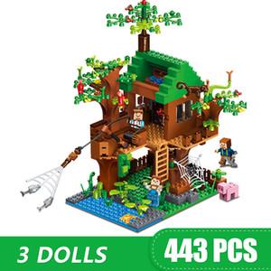 소년 소녀 어린이 모델 장난감을위한 443PCS 작은 빌딩 블록 지원 Legoing 마인 크래프트 트리 하우스 선물