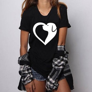 Hillbilly streetwear new summer dress 90s Women's t-shirt Dog and heart combined Printed T Shirts harajuku O-neck tops