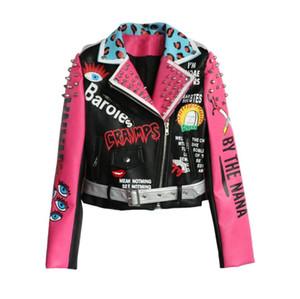 2019 Punk Style Fashion Women Motorcyle PU Jacket Coat Rivets Pu Leather Women Bomber Jacket Oversize Cool Jacket Top For Women w317