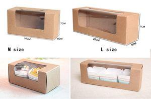 50Pcs / lot Brown Kraft Paper Gift Box Cardboard Cake Package Box with window Long Cake Baking Macaron Poping Box