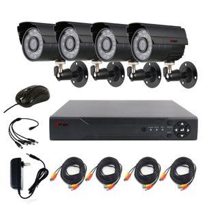 ANSPO 4CH AHD Accueil Système de caméra de sécurité Kit extérieur étanche vision nocturne IR-Cut DVR CCTV Accueil Surveillance 720P système de caméra noir