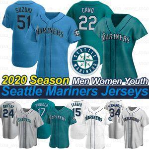 Seattle 2020 New Stagione Jersey Ryon Healy Robinson Cano Felix Hernandez Kyle Seager Ichiro Suzuki Long Jr Omar Narvaez Maglie da baseball