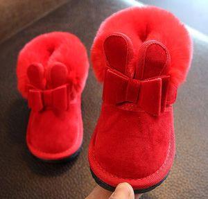 Девушки Банни Лук Little Red Pink голеностопного ботинка Мех животных 2019 Новый теплый снег сапоги SandQ младенца