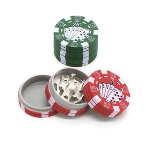 3 strati Poker Chip Style Herb a base di erbe Tabacco Grinder Plastica Metallo Grinders tubo di fumo accessori gadget rosso / verde / nero
