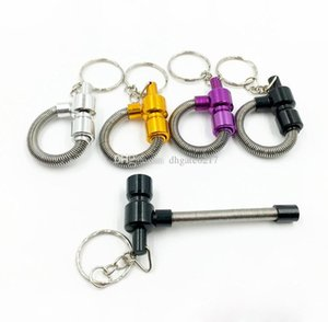 30pcs Metallfeder Pfeife Meltal Tabakpfeifen Zigarette Rohr Schlüsselanhänger protable Cleaners Farbe Random freies Verschiffen
