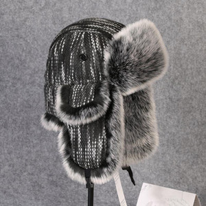 Inverno termica spessa Earmuffs Knit Hat Cotone Uomini Donne Outdoor Trekking Pesca Sci Ciclismo Warm Earflaps Lei Feng Bomber Cap