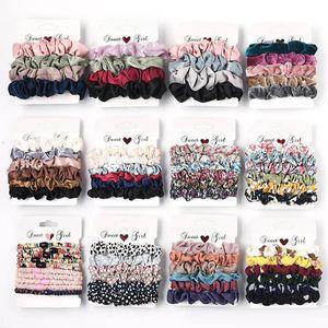 Scrunchie Bantlar Scrunchies Saç Halka Elastik Saç Bağları İp Kış Kadınlar at kuyruğu Tutucu Headdress Saç Aksesuarları 38 Tasarımlar