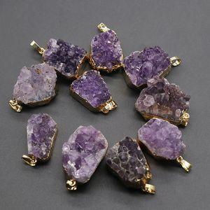 Ametiste naturali allo stato grezzo a sospensione Roccia minerale viola Cluster di cristallo Reiki Healing gemme di pietra quarzo collane del pendente per le donne