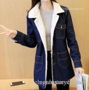 Gira giù collare di lana cashmere Slim Fit cappotto del rivestimento Donne Jean lungo inverno spesso cappotti
