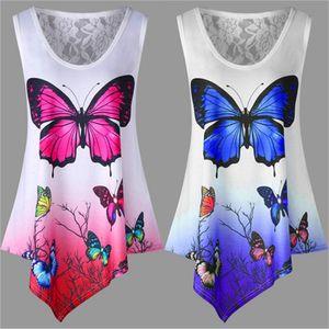 5XL Больших размеры New Summer Women T Shirt Tops Casual рукава Нерегулярного бабочка печать Футболка Сыпучих Плюс Размер Женских Лучший