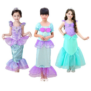 Girls Little Mermaid Ariel Princess Dress Cosplay Costumes Child Halloween Clothes Green Fancy Tulle Dress for Girls Party Prom