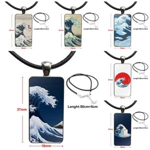 For Child Cartoon Wave Art Japanese Fashion Glass Cabochon Pendant Necklace Women Steel Color Choker Rectangle Necklace