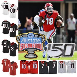 Personalizado Georgia Bulldogs 2019 UGA Football Qualquer Nome Número Jersey Blankenship Fromm Swift Pickens Zamir Bennett Vermelho Branco Preto NCAA 150 ANOS