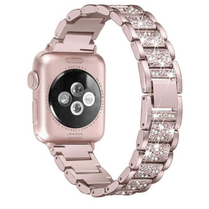 Para a apple watch band 40mm 44mm 38mm 42mm mulheres banda de diamante para apple watch series 4 3 2 1 iwatch pulseira pulseira de aço inoxidável