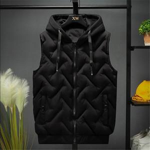 2020 Erkekler Yelek Ceket Sonbahar Kış Sıcak Yelek Casual Kapşonlu Kolsuz Yelek Coats Moda erkek kalın parkas yelekler