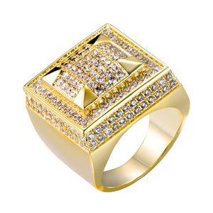Para hombre chapado en oro de joyería de oro blanco de lujo del diseñador del diamante hacia fuera helado Hiphop Hombre Rapper anillos de dedo del anillo rosado plaza para los hombres regalos para los individuos