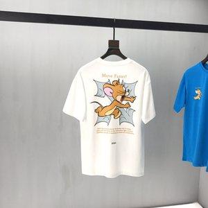 Primavera-Verão Europa desenhos animados mouse Mover corajosa Rápida Aprendizagem incessantemente COLLAB camisa T engraçado camisetas Homens Mulheres manga curta de algodão T