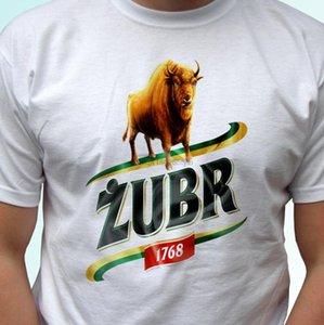 Zubr Biala Koszulka Polska Polski browar piwo alkohol t Meskie camisa koszulki