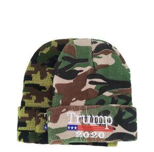 Trump Beanie Camouflage Trump 2020 Quente Gorro de Inverno Hat Camo Letter bordado Trump Presidente Caps OOA7578-5