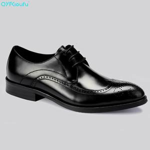 QYFCIOUFU Italian Brogue Retro Uomo Dress Shoes Vera pelle di alta qualità in pelle di mucca Black Wine Red Scarpe formali Oxford