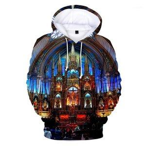 Femmes Printemps À Capuche Designer Sweat Tops Notre Dame de Paris 3D Imprimé Hoodies Hommes