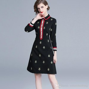 Wholesale Fall Spring Long Sleeve Lapel Neck Black Panelled Bees Embroidery Milan Runway Dress Office Lady A-Line Plus Size Dresses