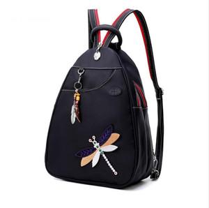 Zaini per Ragazze adolescenti multifunzione cuffie Donne Studente Plug Spalla Cassa pacchetto ricamo Dragonfly Bag Black