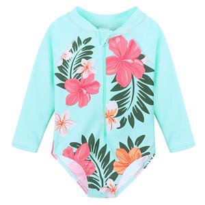 Baohulu Cyan Flower Toddlerinfant Girl Traje de baño de manga larga Traje de baño para bebés Traje de baño para bebés Trajes de baño de una pieza Y19062801
