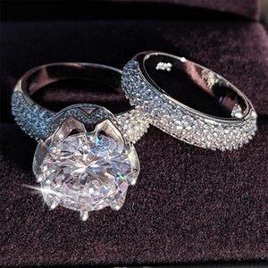 11mm grande de lujo circón originales de bodas de plata del anillo de ajuste 925 para las mujeres de novia de la joyería del contrato de regalo eternidad banda R4843