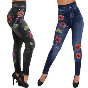 Супер- Упругие Jeggings карандаш штаны зимние высокие талии цветочные Искусственные джинсы Denim Тонкий Женщины Длинные брюки Женский гетры