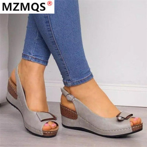 2020 Women Rome Casual Sandals Women Wedges Sandals Buckle strap Open Toe Fish Mouth Summer Shoes Zapatos De Mujer