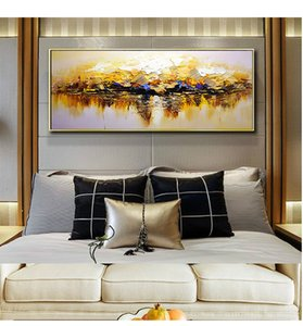 Living room modern light luxury decorative painting hand-painted three-dimensional oil painting bedroom background wall bedside hanging pain