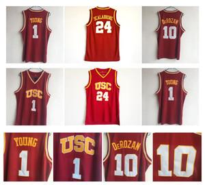 10 DeRozan 저지 USC 남부 캘리포니아 24 Brian Scalabrine 1 Nick Young NCAA 대학 농구 유니폼 레드 100 % Stitching 최고 품질!