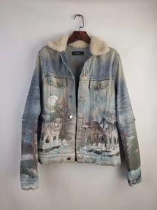 2019 inverno nuovo modo del Mens progettista decorazione foro demin giacca ~ giacche formato US ~ progettista lupo stampa giacca demin per gli uomini