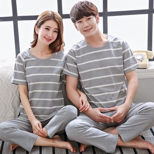 Summer 100% Cotton Couples Pajamas Set Short Sleeve Top Long Pants Sleepwear Men and Women Loose Style Plain Home Suit Pjs Women T200701