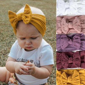 Bowknot Baby Headband Elastic Turban Hairband Bows kids Baby Girl Headbands Cable Knit Solid Wide Nylon Hair accessories