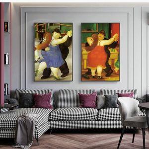 Pinturas engraçado famoso bailarino lona óleo por Fernando Botero Abstract Wall Art Posters Prints Pictures para o quarto Início Wall Decor