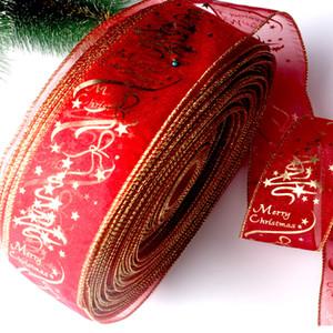 200 CM Étoiles Imprimé Organza Ruban Pour La Fête De Mariage De Noël Décoration BRICOLAGE Artisanat Gâteau Emballage De Cadeau Arc De Noël Rubans DBC VT0746
