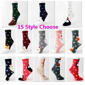 Cotton Christmas Socks Cartoon Santa Claus Elk Straight Woman Socks Winter Warm Stockings Home Christmas Decorations 15 Style HH9-2528