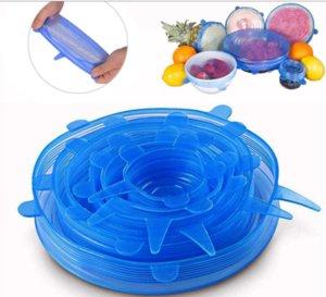 Set di Cup Cover in silicone elastico 6 pezzi / Set Fresh Food-keeping Packaging tenuta di copertura multi-funzione di copertura del silicone Bowl
